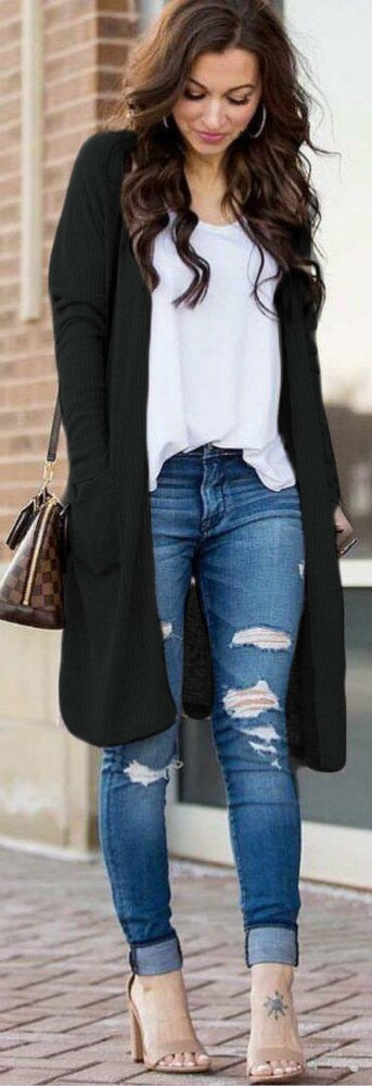 Uguest Casual Knitted Long Cardigan Female Loose Cardigan Knitted Jumper Warm Winter 2019 Solid Sweater Women Cardigan Coat 4