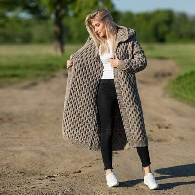 New Arrival Fashion Women's Hooded Thick Knitted Sweater Cardigan Coat Long Sleeve Winter Warm Hooded Cloak Plus Size S-5XL 1