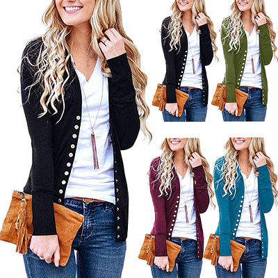 2019 Knitted Cardigan Women Long Sleeve V Neck Solid Color Sweater Metal Button Single-breasted Coat