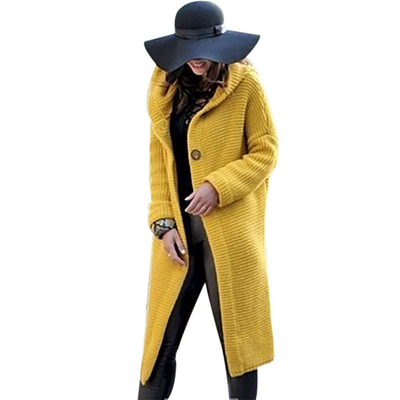 WENYUJH 2019 New Women Autumn Winter Thicken Jacket Long Coat Warm Hooded Cardigans Streetwear Female Knitted Coat Plus Size 5XL 2