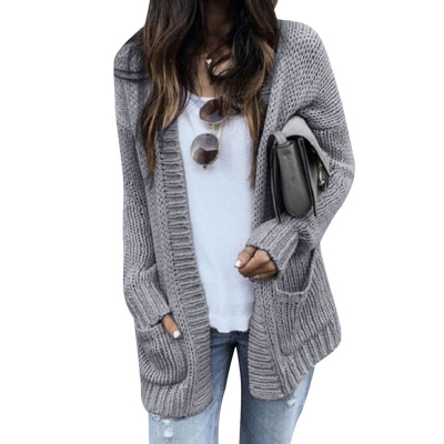 CALOFE Cardigan Women Long Sleeve Knitted Double Pockets Cardigan Autumn Winter Women Sweaters 2019 Knitting Coat Mujer Invierno