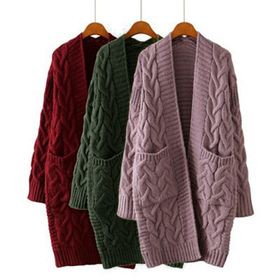 LASPERAL Korean Winter Women's New 2019 Loose Long Sleeve Knit Sweater Cardigan Coat Thick Winter Women Cardigans Sweater