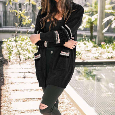 2019 Autumn Long Cardigan Women Sweaters Ladies Long Sweater Women Knitted Sweater Female Long Sleeve Loose Cardigans Coat 2