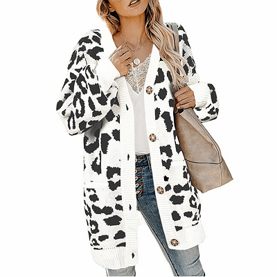 LOGAMI Vintage Leopard Women Long Cardigan 2019 Autumn Winter Casual Single Breasted Knitted Sweater Coat