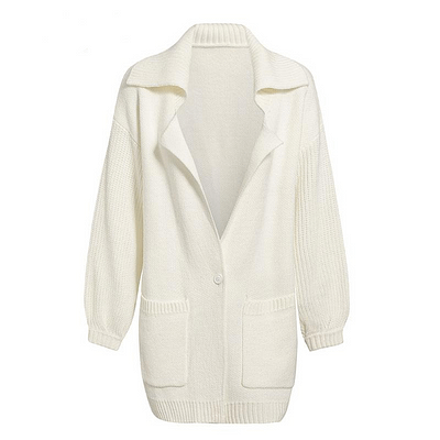 Melegant Pocket Solid White Cardigans Women Winter 2019 Cardigans Ladies Knitted Casual Cardigans Knitwear 1