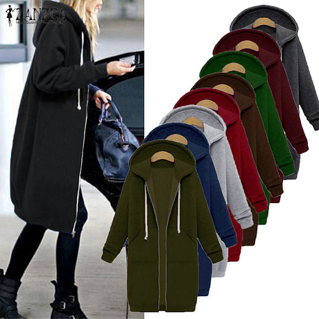 Oversized 2017 Autumn Women's Casual Long Hoodies Sweatshirt, Coat, Pockets, Zip Up, Outerwear Hooded Jacket 1