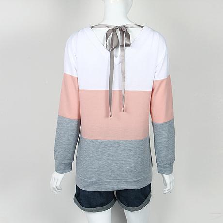 Sweatshirt, Women's Sweatshirt Patchwork Pullover 2