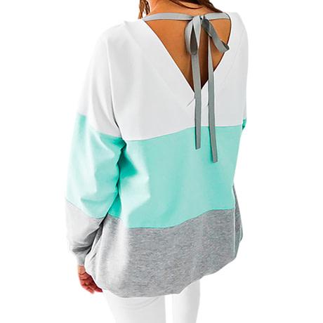 Sweatshirt, Women's Sweatshirt Patchwork Pullover 1