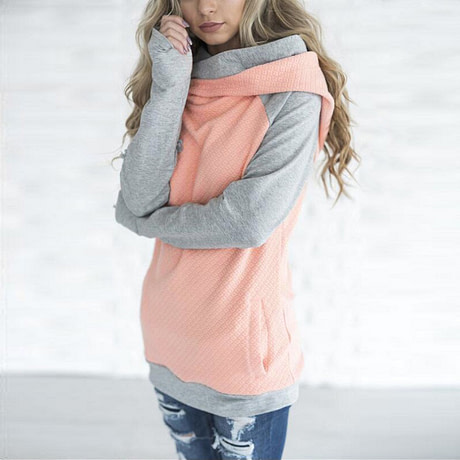 New Double Hood Sweatshirt, Women's Long Sleeve, Side Zipper Hooded Casual Pullover 1