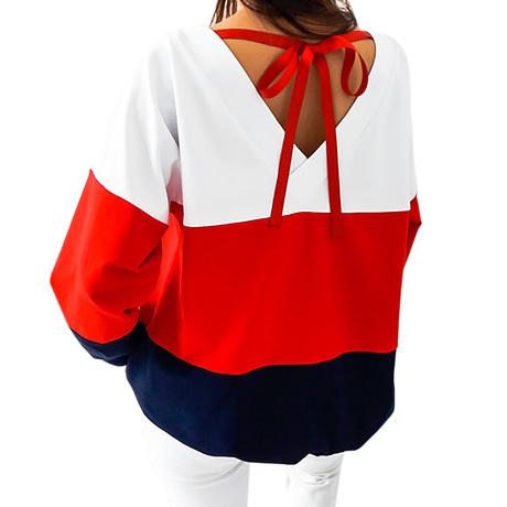 Sweatshirt, Women's Sweatshirt Patchwork Pullover 4