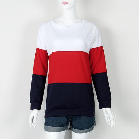 Sweatshirt, Women's Sweatshirt Patchwork Pullover 5