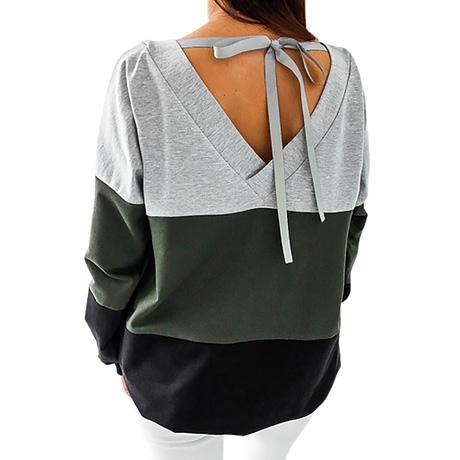 Sweatshirt, Women's Sweatshirt Patchwork Pullover