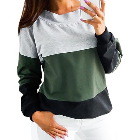 Sweatshirt, Women's Sweatshirt Patchwork Pullover 3