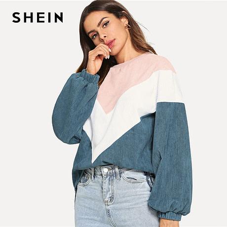 New Multi-color Cut and Sew Chevron Sweatshirt, Preppy Round Neck, Bishop Sleeve Pullover, Women's Sweatshirt 3