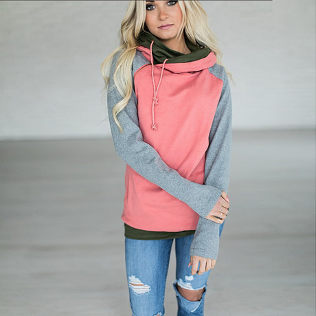 Women's Patchwork Striped Pullover Long Sleeve Hoodie, Tops With Pockets, Hooded Sweatshirt 4