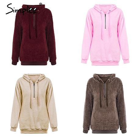 Hooded Fleece Pullover Sweatshirt, Women's Zipper Solid Long Sleeve Hoodies 2