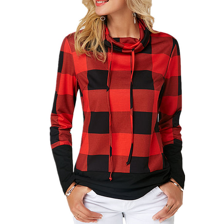Women's Plaid Print Turtleneck Hoodie, Casual Long Sleeve Women's Plus Size Sweatshirt