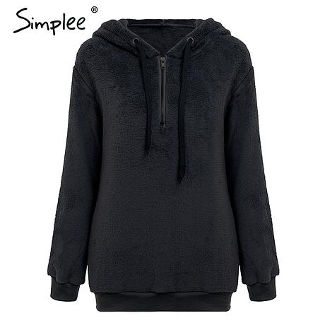 Hooded Fleece Pullover Sweatshirt, Women's Zipper Solid Long Sleeve Hoodies 1