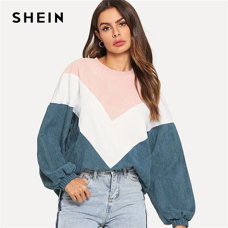 New Multi-color Cut and Sew Chevron Sweatshirt, Preppy Round Neck, Bishop Sleeve Pullover, Women's Sweatshirt