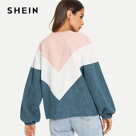 New Multi-color Cut and Sew Chevron Sweatshirt, Preppy Round Neck, Bishop Sleeve Pullover, Women's Sweatshirt 1