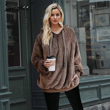 Hooded Fleece Pullover Sweatshirt, Women's Zipper Solid Long Sleeve Hoodies