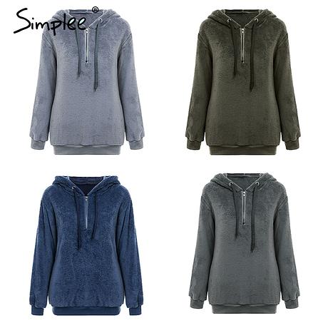 Hooded Fleece Pullover Sweatshirt, Women's Zipper Solid Long Sleeve Hoodies 3