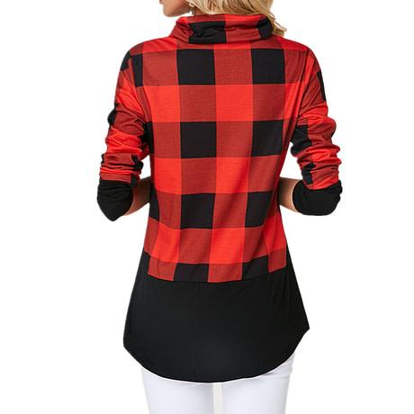 Women's Plaid Print Turtleneck Hoodie, Casual Long Sleeve Women's Plus Size Sweatshirt 3