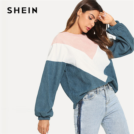New Multi-color Cut and Sew Chevron Sweatshirt, Preppy Round Neck, Bishop Sleeve Pullover, Women's Sweatshirt 2