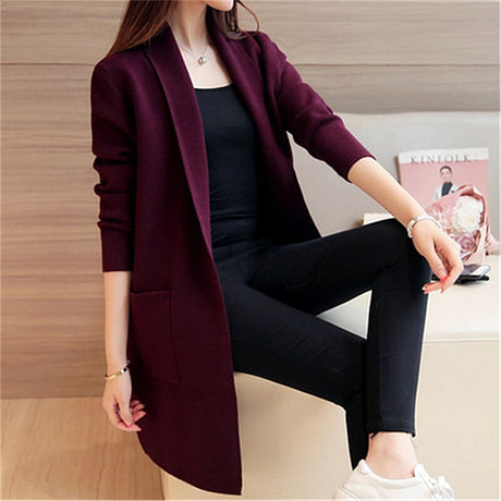 Women Sweater Long Cardigan 2018 New Fashion Autumn Winter Long Sleeve Loose Knitted Cardigan female Sweaters Long Coat 345 1