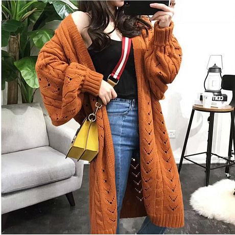 SVOKOR Cardigan Women Long Sleeve Trend Hollow Women's Knitted Sweater Loose Leisure Plus Size Cardigan 3