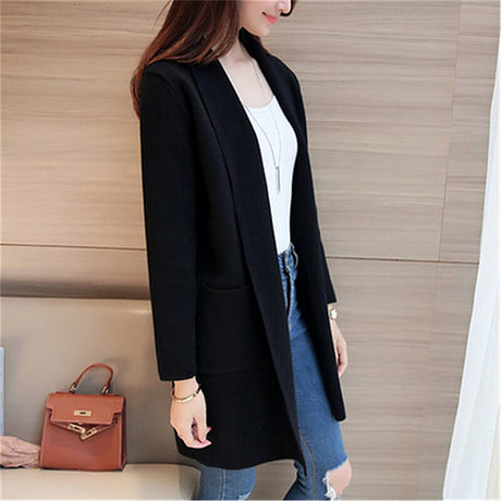 Women Sweater Long Cardigan 2018 New Fashion Autumn Winter Long Sleeve Loose Knitted Cardigan female Sweaters Long Coat 345 3