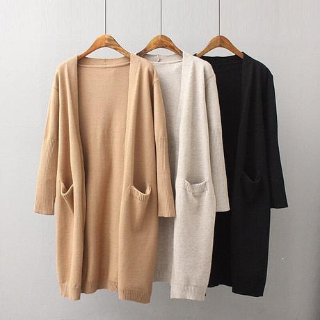 yinlinhe Khaki Long Cardigan Women Cashmere Solid Knit Sweater Women Long Sleeve Winter 2019 Pockets female Cardigan Kimono 737 4
