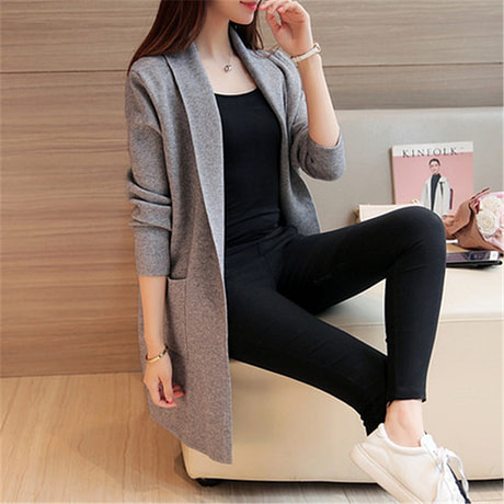Women Sweater Long Cardigan 2018 New Fashion Autumn Winter Long Sleeve Loose Knitted Cardigan female Sweaters Long Coat 345 2