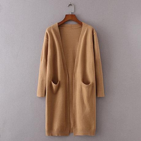 yinlinhe Khaki Long Cardigan Women Cashmere Solid Knit Sweater Women Long Sleeve Winter 2019 Pockets female Cardigan Kimono 737 1