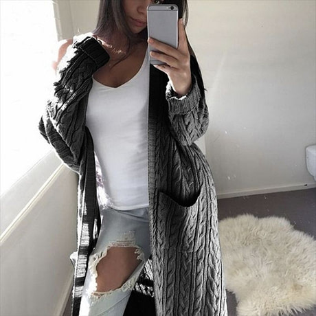 LOGAMI 2019 New Cardigan Coat Womens Pockets Sweater Long Women Warm Sweater Thick Knitted Female Sweater Winter 2