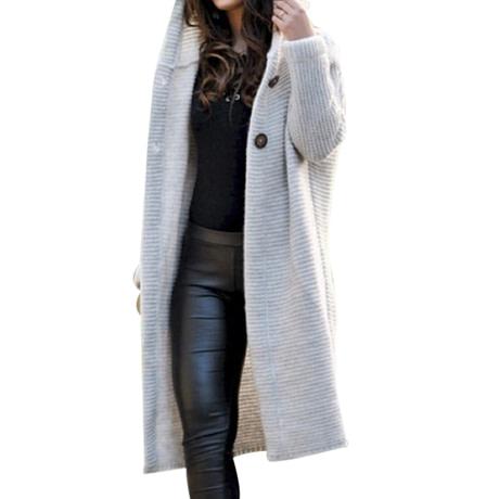 WENYUJH 2019 New Women Autumn Winter Thicken Jacket Long Coat Warm Hooded Cardigans Streetwear Female Knitted Coat Plus Size 5XL