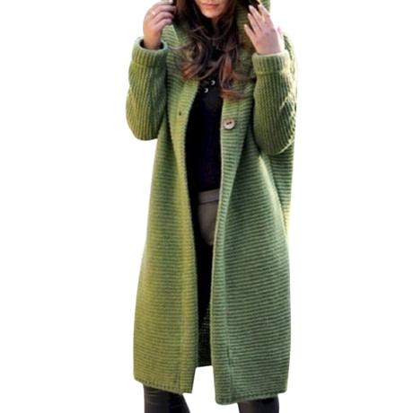 WENYUJH 2019 New Women Autumn Winter Thicken Jacket Long Coat Warm Hooded Cardigans Streetwear Female Knitted Coat Plus Size 5XL 4