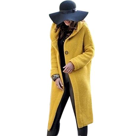 WENYUJH 2019 New Women Autumn Winter Thicken Jacket Long Coat Warm Hooded Cardigans Streetwear Female Knitted Coat Plus Size 5XL 2