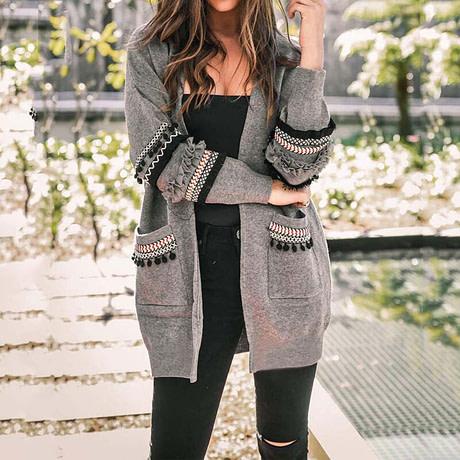 2019 Autumn Long Cardigan Women Sweaters Ladies Long Sweater Women Knitted Sweater Female Long Sleeve Loose Cardigans Coat 3