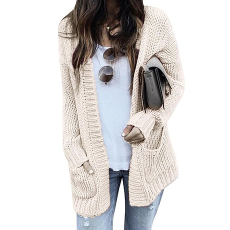 CALOFE Cardigan Women Long Sleeve Knitted Double Pockets Cardigan Autumn Winter Women Sweaters 2019 Knitting Coat Mujer Invierno 2