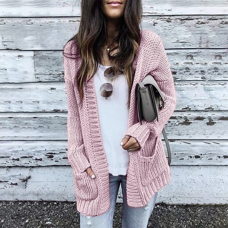 CALOFE Cardigan Women Long Sleeve Knitted Double Pockets Cardigan Autumn Winter Women Sweaters 2019 Knitting Coat Mujer Invierno 1