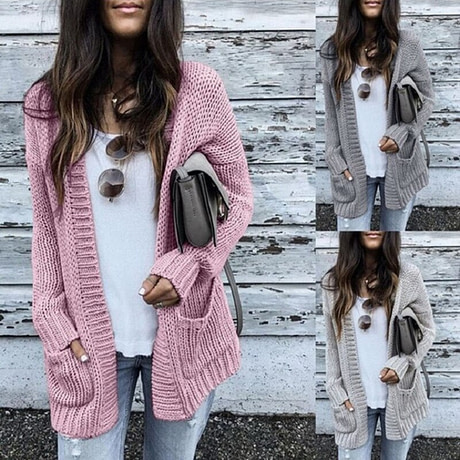 CALOFE Cardigan Women Long Sleeve Knitted Double Pockets Cardigan Autumn Winter Women Sweaters 2019 Knitting Coat Mujer Invierno 5