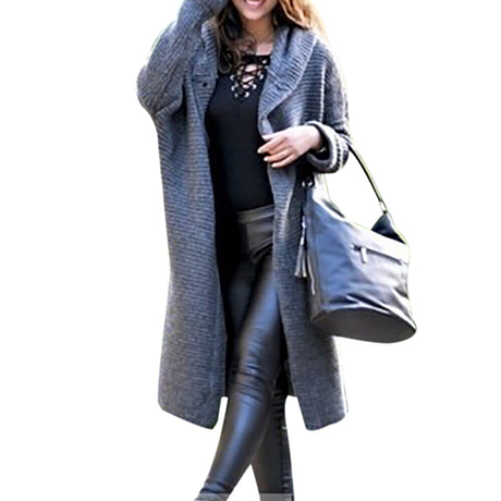 WENYUJH 2019 New Women Autumn Winter Thicken Jacket Long Coat Warm Hooded Cardigans Streetwear Female Knitted Coat Plus Size 5XL 3