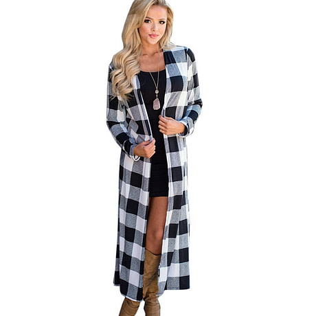 Rogi Summer Autumn Plaid Long Cardigan Women 2019 Casual Long Sleeve Cardigan Fashion Patchwork Color Block Slim Lady Outerwear 1
