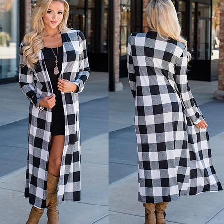 Rogi Summer Autumn Plaid Long Cardigan Women 2019 Casual Long Sleeve Cardigan Fashion Patchwork Color Block Slim Lady Outerwear 3