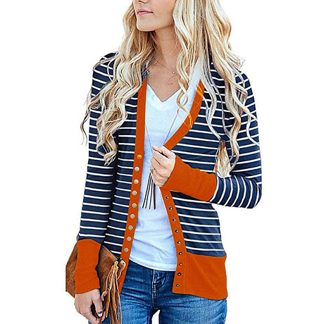 Striped Cardigan Women Sweater Long Sleeve V Neck Casual Knitted Cardigans Mujer 2019 Spring Autumn Winter Female Coat Plus Size 1