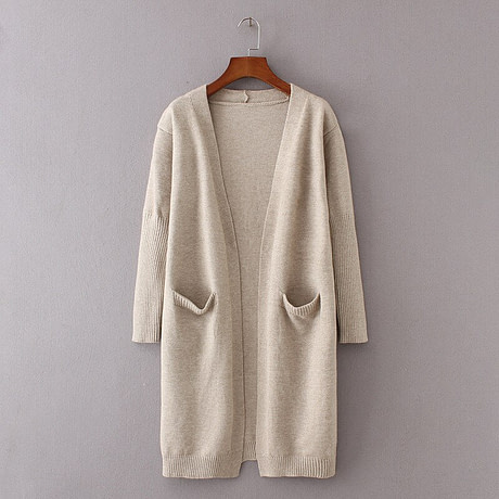 yinlinhe Khaki Long Cardigan Women Cashmere Solid Knit Sweater Women Long Sleeve Winter 2019 Pockets female Cardigan Kimono 737 5