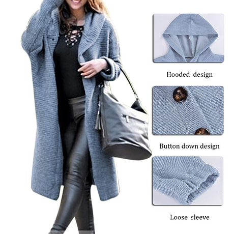 Autumn Cardigan Sweater Coat Women Long Solid Hooded Sweater Women Knitted Jumper Coat Plus Size 5XL pull femme Streetwear mujer 1