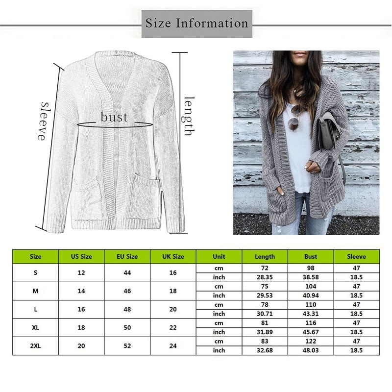 Cardigan Women Long Sleeve Knitted Double Pockets Cardigan Autumn Winter Women Sweaters Knitting Coat Mujer Invierno