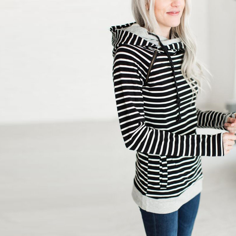 Women's Patchwork Striped Pullover Long Sleeve Hoodie, Tops With Pockets, Hooded Sweatshirt 46